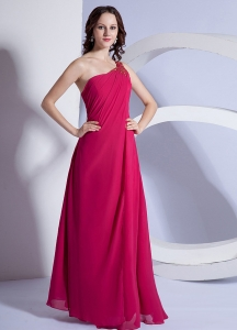 Empire Red Beading Chiffon Prom Dress with One Shoulder