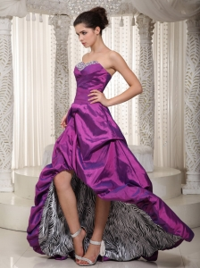 Eggplant Purple Sweetheart High-low Zebra Prom / Evening Dress
