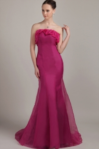 Mermaid Fuchsia Strapless Floor-length Organza Prom Dress