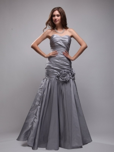 Gray Mermaid Sweetheart Prom Dress with Ruch and Hand Made Flowers