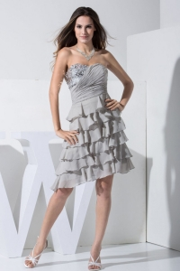 Grey Knee-length Prom Dress With Sequins and Ruffled Layers
