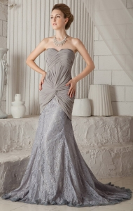 Grey Trumpet / Mermaid Sweetheart Court Train Prom Dress
