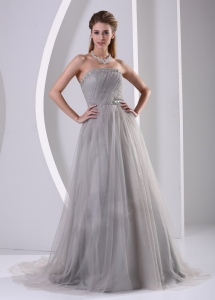 Grey A-line Strapless Beaded Prom Dress With Sweep Train