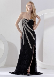 High Slit Beading Sweetheart Brush Train Black Prom Dress