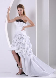 Black and White High-low Custom Made Beading and Pick-ups Prom Dress