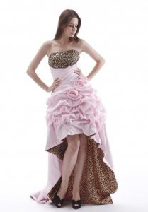 Leopard High-low Prom Dress With Hand Made Flowers and Pick-ups