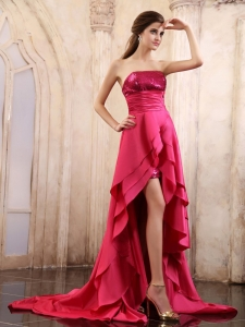 Ruffled High-low Prom Dress With Sequin Coral Red