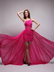 Hot Pink High Low One Shoulder Brush Train Beaded Prom Dress