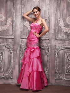 Hot Pink Column Sweetheart Prom Dress with Beading and ruffles