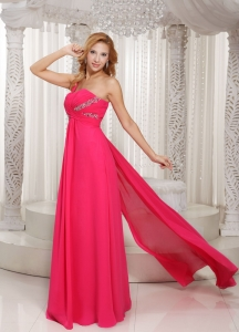 Hot Pink One Shoulder Ruched Prom Dress With Watteau Train