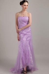 Strapless Lavender Mermaid Brush Train Tulle Ruch Prom Dress