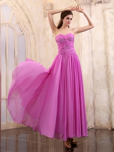 Prom Dress Sweetheart Ruched Ankle-length Chiffon