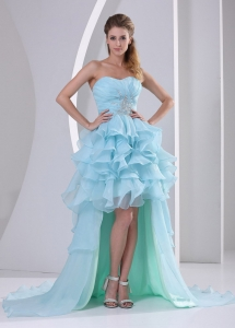 High-low Sweetheart 2013 Prom Dress With Beading and Ruffles