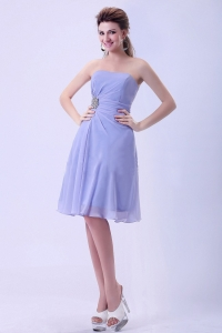 Lilac Chiffon Empire Applique Bridemaid Dress Knee length