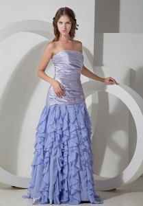 Lilac Strapless Ruffles Floor-length Prom Dress with Appliques