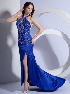 Royal Blue Column Halter Prom Dress with Embroidery Brush / Sweep