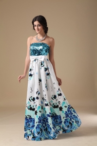 Multi-color Pringting Empire Strapless Sequin Prom Dress