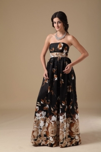 Multi-color Empire Printing Strapless Floor-length Prom Dress