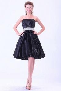 Strapless Cocktail Dress With Beaded Belt Knee-length