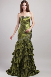 Column Olive Green Sweetheart Taffeta Beading and Ruch Prom Dress
