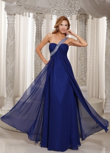One Shoulder Navy Blue Empire Beading Celebrity Dress