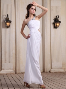 Beaded One Shoulder Prom Dress With Ankle-length For Party