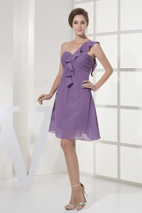 Ruched One Shoulder Lilac Prom Dress Mini-length