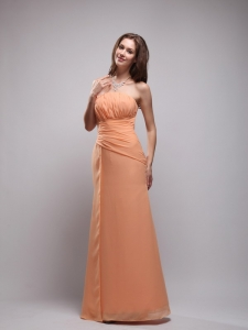 Orange Column Strapless Floor-length Chiffon Prom Dress