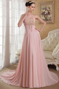 Pink Strapless Watteau Train Beading Hand Made Flowers Prom Dress