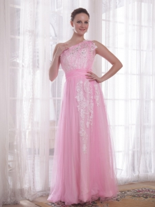Appliques One Shoulder Floor-length Pink Prom / Evening Dres
