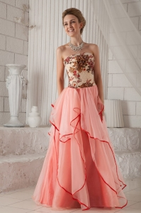 Printed Strapless Floor-length Ruffled Prom / Evening Dress
