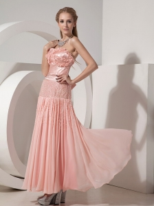 Strapless Ankle-length Chiffon and Taffeta Beading Prom Dress
