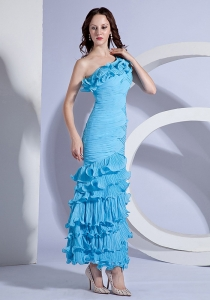 One Shoulder Aqua Blue Ankle-length Prom Dress with Pleat