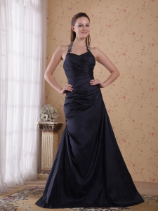 A-Line Halter Floor-length Taffeta Beading Prom Dress