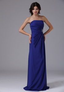 Prom Dress With Ruch Beading Strapless Chiffon