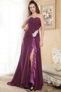 Column Purple Sweetheart Chiffon Prom Dress High Slit Appliques