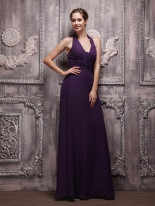 Purple Halter Floor-length Chiffon Ruched Prom Dress