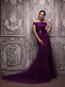 Purple Mermaid Off The Shoulder Brush Train Evening Dress with Sash