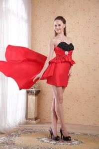 Red Column Sweetheart High-low Beading Taffeta Prom Dress