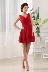 Gorgeous Red V-neck Prom Dress With Mini-length