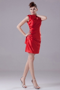 Red Mini-length For Prom Dress in Taffeta