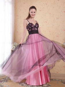 Spaghetti Straps Rose Pink A-Line Tulle Appliques Prom Dress