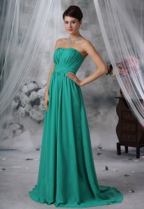 Ruched Turquoise Blue Strapless Prom Dress For 2013