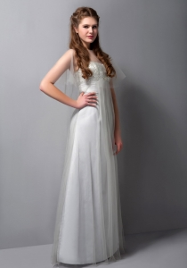 A-line Strapless Floor-length Tulle Beading Prom Dress