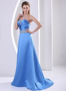 2013 Beading Prom / Evening Dress With Sweep Train Satin