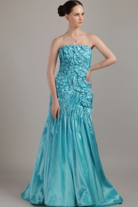 Strapless Teal A-line Taffeta Beading and Ruch Prom Dress