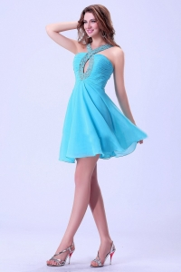 Halter Beaded Aqua Blue Cocktail Dress Mini-length For Club