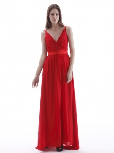 V-neck Red Prom Dress Pleated Floor-length Chiffon