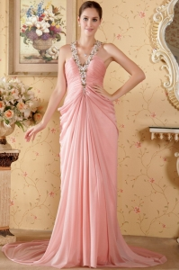 Column Halter Chapel Train Beading Prom / Graduation Dress