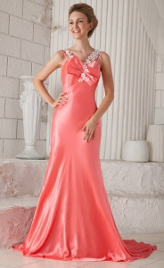 Spaghetti Straps Brush Train Prom Dress with Handmade Flower